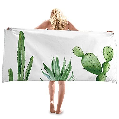 Acerca de 80 x 160 cm verde cactus planta patrón simple y de moda toalla de playa muy absorbente suave tacto toallas perfectas para uso diario -C2