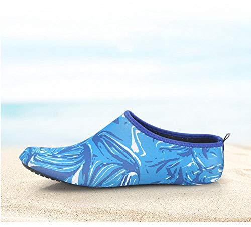 Tingxx Hombres Y Mujeres Zapatos Suaves Descalzos Calcetines De Playa Zapatos De Snorkel Zapatos De Buceo En La Playa Zapatos Antideslizantes para Caminadora Honeycomb_Blue_40 41
