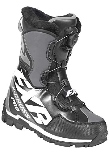 FXR Racing XCROSS Pro Boa Snow Boot '19 Black/White/Charcoal Mens 10/Womens 12/EU43