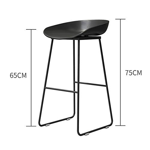 HOMRanger Leisure Simple Barstool Dining Chair,Leather Upholstered Metal Bar Stool Waterproof High Backless Stool Side Chair Bistro Cafe Indoor-u 65cm(26inch)
