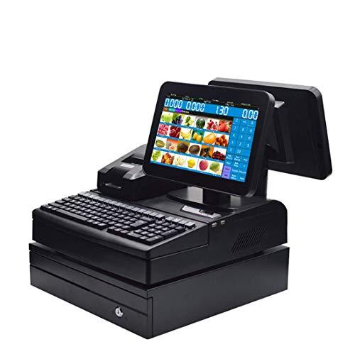 ZHONGJI Einzelhandel Kassensystem Doppelt Bildschirm Registrierkasse mit Thermoempfangsdrucker, Kassenschublade