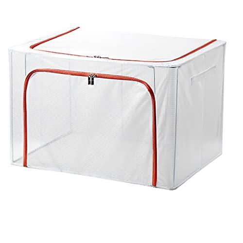 Digead Bolsa de almacenamiento para ropa de cama, Bolsa de Almacenamiento de Ropa con Mango Reforzado, Material Transparente Resistente al Desgaste y Soporte de Estructura de Acero-60x42x40cm