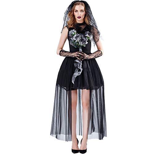 XIEPEI 2019 Kostüm für Erwachsene, Horror-Frau, Geister, Vampirbraut, dunkler Umhang, Hexenkostüm für Damen Gr. L, Farbe