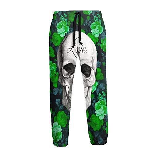 Inaayayi Sugar Skull Green Flowers Love Jogger 3D Druck Jogging Sweatpants Damen Herren Hip Hop Sporthose Sportswear Gr. 56, weiß