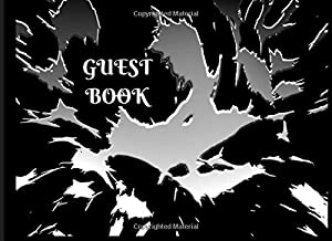 Guest Book: Elegant black with crazy black and white pattern. Close friends and family attendance register with prompts for tips and advice for the newly wed. Small wedding, invites only, 100 pages