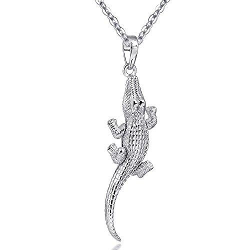 MATERIA Tier Anhänger Krokodil GILA bewegliche Glieder - massiv 925 Silber Anhänger Damen für Halskette + Box #KA-302