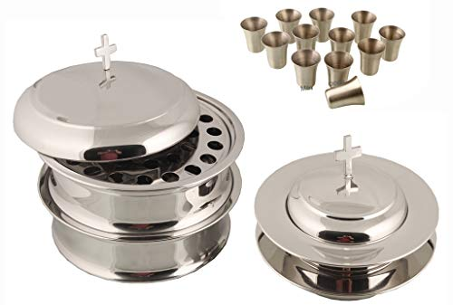 Communion Ware 2 Holy Wine Serving Trays With A Lid & 2 Stacking Bread Plates With A Lid + 80 Cups - Mirror Finish Stainless Steel