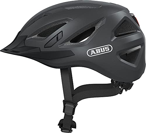 ABUS Urban-I 3.0 Stadthelm - Fahrradhelm mit Rücklicht für den Stadtverkehr - für Damen und Herren - 86862 - Titan (gräulich), Größe S