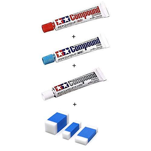 タミヤ コンパウンド(粗目) + タミヤ コンパウンド(細目) + タミヤ コンパウンド (仕上げ目) + タミヤ メイクアップ材シリーズ コンパウンド用スポンジ プラモデル用工具 セット