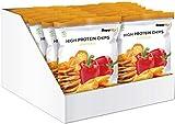 Supplify Protein Chips - Eiweiß Fitness Snack Mix Box, Whey Proteinpulver und Protein Riegel, ideal zum Abnehmen oder als Muskelaufbau Booster- 14x 50g, Paprika (vegan) -