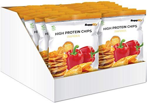Supplify Protein Chips - Eiweiß Fitness Snack Mix Box, Whey Proteinpulver und Protein Riegel, ideal zum Abnehmen oder als Muskelaufbau Booster- 14x 50g, Paprika (vegan)