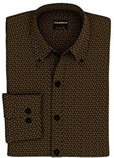 Tailorman Brown Poplin Print Shirt(Brown)