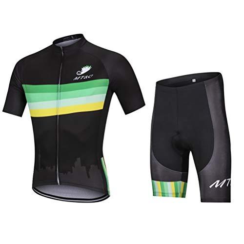 Abbigliamento Ciclismo da Uomo,Asciugatura Rapida Traspirante Maglia Manica Corta+9D Gel Cuscino Pantaloncini,Estivo Completo Ciclismo Jerseys per Squadra Professionale ( Color : F , Size : 3XL )