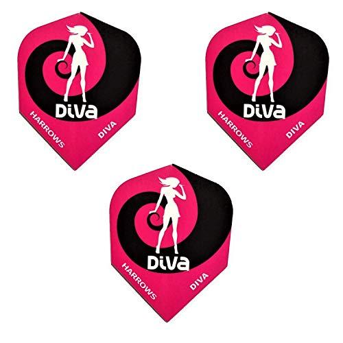 Harrows Damen Dart Diva 100 Mikron Flights, Pink Swirl (3 Sets - 9 Flights)