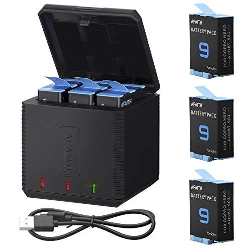 AFAITH 3 Baterías + Cargador de Batería de 3 Canales para GoPro Hero 9/10 Black, 3 Baterías de Iones de Litio+Organizador de Almacenamiento de Carga con Cable USB tipo C Accesorio para GoPro Hero 9/10