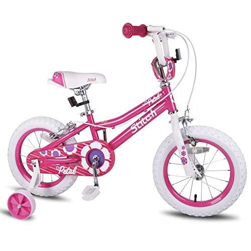WYYHYPY Bicicleta infantil de 14 16 pulgadas con ruedas de entrenamiento para niñas de 35 bicicletas y vehículos (Color: rosa, tamaño: 14 pulgadas)