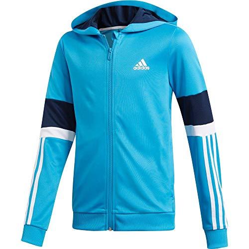 adidas Equip Full Zip Hoodie Hooded Track Top, Niños, Shock Cyan/Collegiate Navy/White, 12-13A