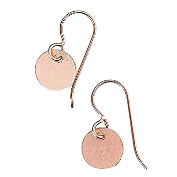 Round Circle Disc dangle drop Earrings in Sterling Silver Gold or Rose Gold 14K Rose Gold Fill