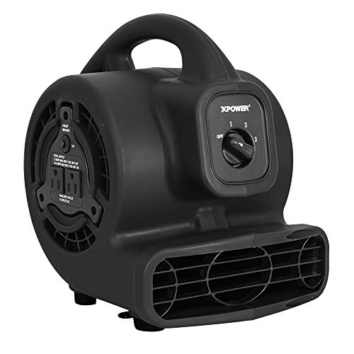 XPOWER P-80A Mini Mighty Air Mover, Floor Fan, Dryer, Utility Blower with Built-in Power Outlets (Black, 1)