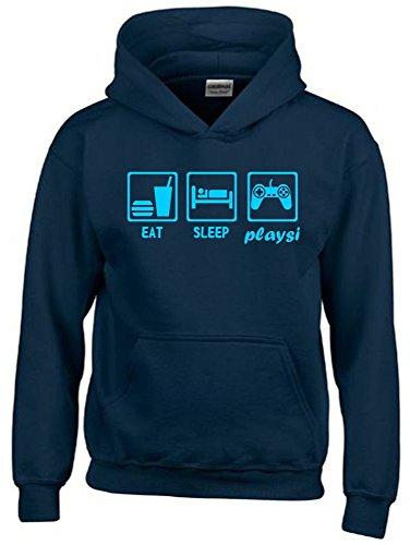 Coole-Fun-T-Shirts EAT Sleep PLAYSI Kinder Sweatshirt mit Kapuze Hoodie Navy-Sky, Gr.164cm