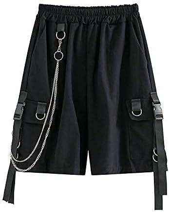 FMSZDSTMDNSDK Short Shorts for Men, Mens Cargo Shorts Men Ribbons Chain Loose Black Casual Short Pants Plus Size (Color : Black, Size : Medium)
