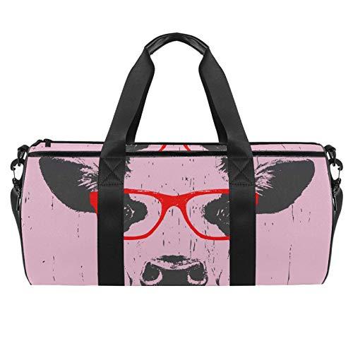 Z&Q Sporttasche Bull Head Brille Männer Reisetasche mit wasserdichte Schicht Gym Fitness Tasche 24 Liter Handgepäck Weekender für Herren und Frauen 45x23x23cm