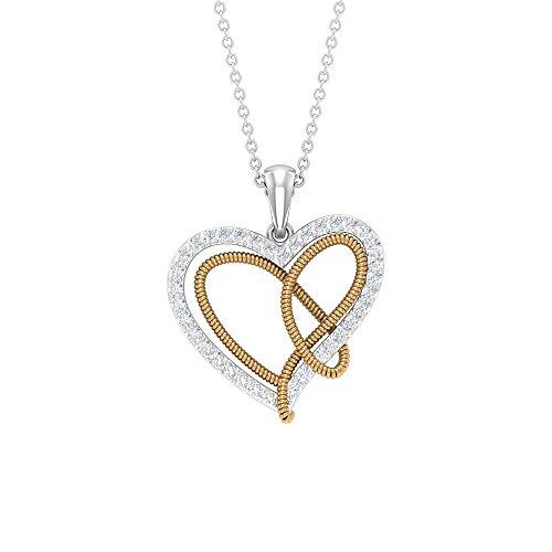 Colgante de nudo de corazón, collar de corazón HI-SI, joyería de corazón doble, collar de aniversario amarillo