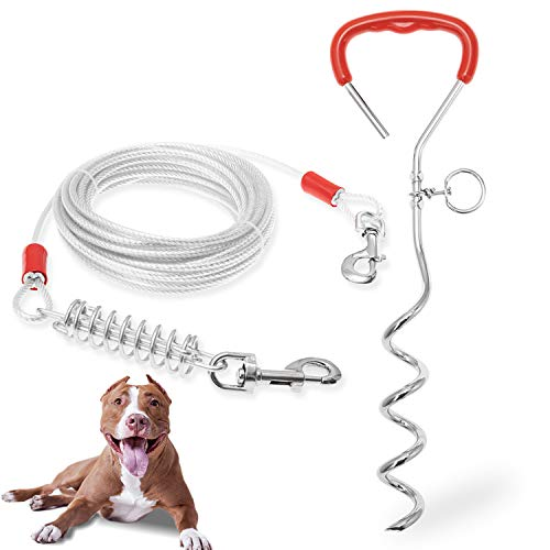 ADCSUITZ Dog Tie Out Cable and Stake - Heavy Duty Long Dog Leash 20ft for Small, Meidum, Large Dogs - Tangle Free Rope Dog Leash with Buffer Spring for Camping Training Hiking Playing in The Yard