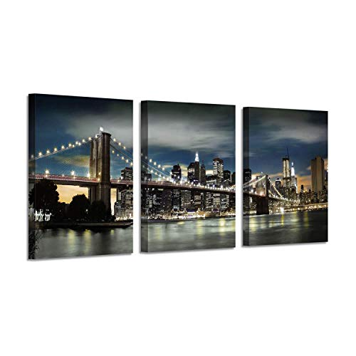 City Artwork Cityscape Picture Painting: NYC Brooklyn Bridge Art Print on Canvas for Office (16