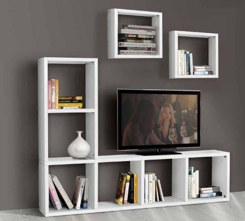 Legno&Design Porte TV étagère Meuble séjour Blanc frassinato 8 éléments