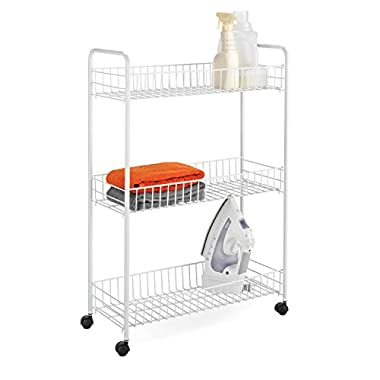 Honey-Can-Do Crt-01149 3-Tier Laundry Cart, 23 L x 8 W x 31 H, White