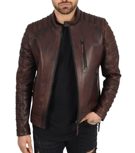 100% Pure Genuine Leather Bikers Jacket for Men's (Size : XS to 4XL)