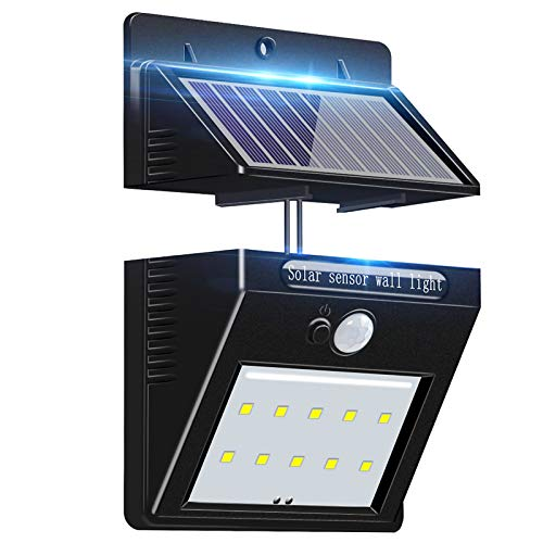 Outdoor Solar Motion Sensor Wall Light, WHATOOK Waterproof Security Lights PIR Solar Wall Light with Separable Solar Panel and 8ft Extension Cords for Patio Yard Deck Garage Driveway Porch Fence