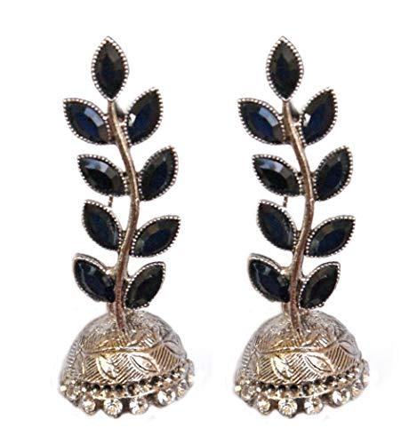 Pahal - Pendientes largos de plata con diseño de hojas de Kundan negras tradicionales de estilo jhumka indio Bollywood para mujer