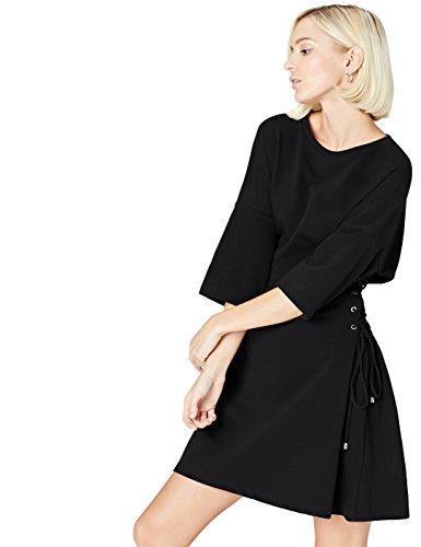 Amazon-Marke: find. Damen Asymmetrisches Kleid mit Schnürung, Schwarz (Black), 34, Label: XS