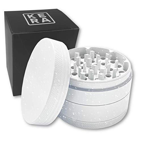 KERA Keramik Grinder Crusher Kräutermühle | 4-teilig | Haftfrei | Hygienische Nano Keramik Beschichtung | ø 63mm | Premium Grinder Set | Für Pollen, Tabak, Spice, Herb