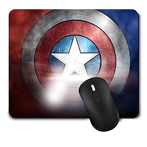 Gaming Mouse Pad,Cute Mouse Mat with Design,Waterproof and Non-Slip Rubber Base Office Mousepad,Middle Size 9.45x 7.87 x 0.08 Inch,Captain America Colour