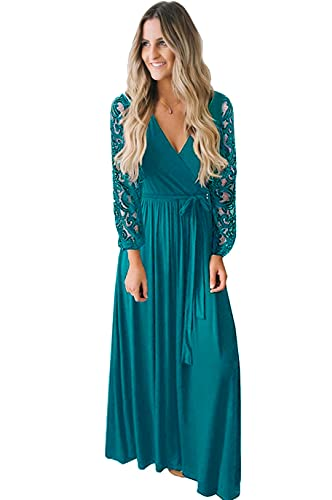 Teal green maxi dress with lace sleeves