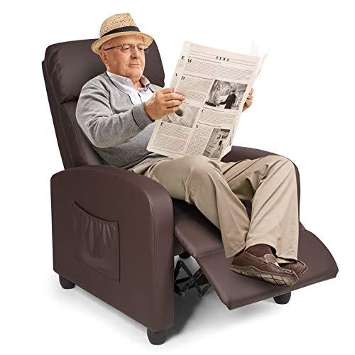 COSTWAY Relaxsessel mit verstellbaren Rückenlehne und Fußteil, Fernsehsessel Liegesessel Wohnzimmer TV Sessel 68x82x101cm (Kaffee)