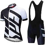 Conjunto de Ropa Transpirable para Deportes al Ciclismo Maillot Hombres Jersey + Pantalones Cortos Culote Mangas Cortas de Ciclismo Traje de Ciclismo (1,M)
