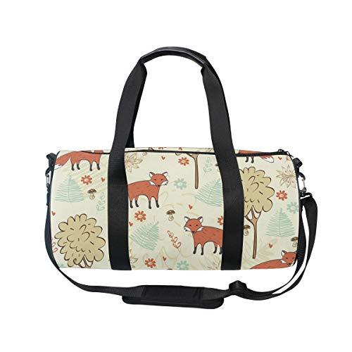 MNSRUU Fuchs- und Baum-Reisetasche für unterwegs, Unisex, hohe Kapazität, großes Gepäck, Sporttasche