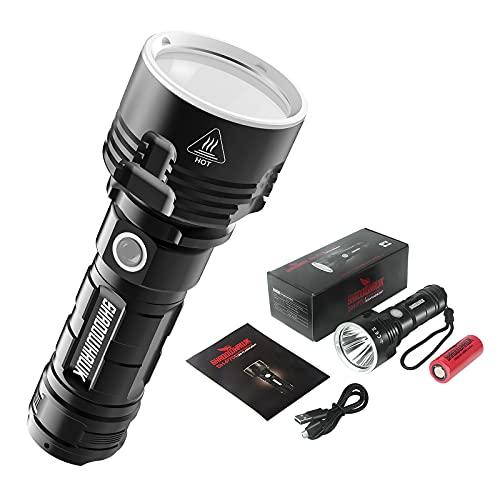 Shadowhawk Taschenlampe Led, Extrem Hell 4000 Lumen USB Aufladbar Taktische Taschenlampen CREE XHP70 Handlampe, IPX67 Wasserdicht 3 Lichtmodi für Camping Wandern Notfälle(mit 5000mah 26650 Batterie)