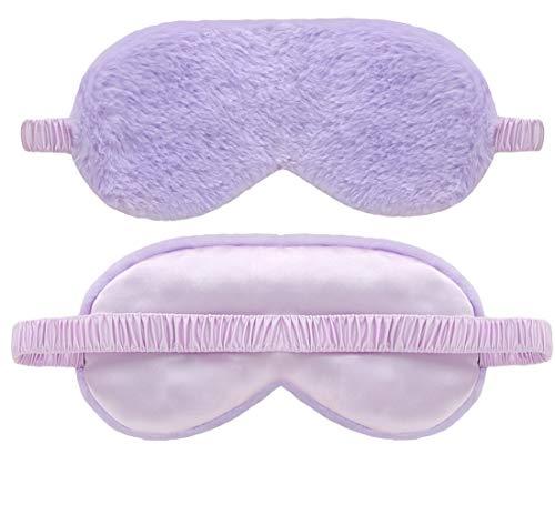 dressfan Seide Schlafmaske Hase Plüsch Augenmaske Schattierung Augenbinde Travel Nachtmaske Tragbarer mit verstellbarem Gummiband für Frauen und Herren,Rosa