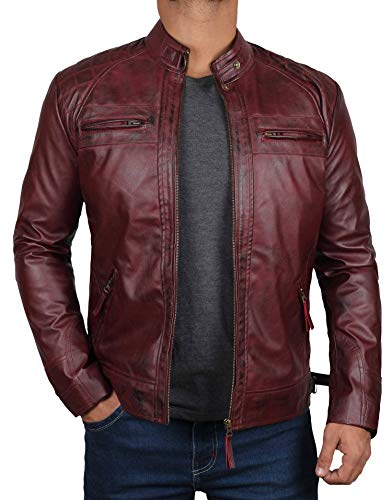 Mens Leather Jacket - Maroon Jackets for Men [1100104] | D1 Maroon, L