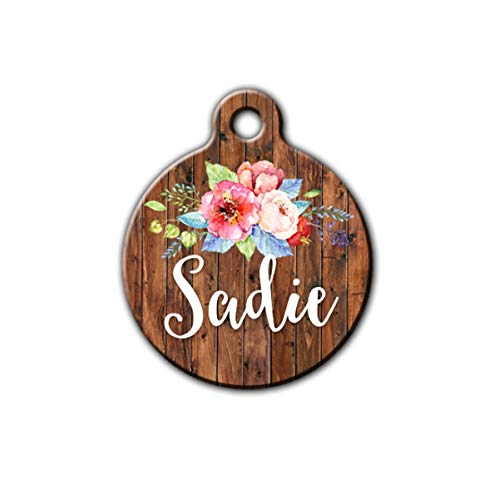 Pet id tag, Rustic Pet tag,wood Floral pet tag, Cute pet id tag, Personalized aluminum pet id tag