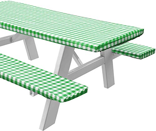 Sorfey Vinyl Picnic Table and Bench Fitted Tablecloth Cover, Checkered Design, Flannel Backed Lining, 28 x 72 Inch, 3-Piece Set, Green