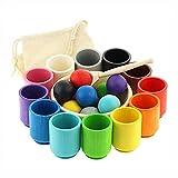 Ulanik Montessori - Juego de 12 bolas de madera para clasificar y clasificar los números de preescolar (35 mm)