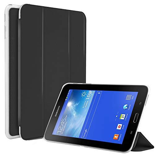 N NEWTOP Funda compatible para Samsung Galaxy Tab 3 Lite/Pro de 7 pulgadas T110 T111, funda Flip Smart Libro TPU Back Front Ultra Delgada Ligera Stand Función Wake/Sleep Simil Piel (Negro)