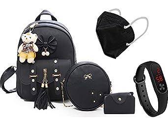 Prestigious Fashion Girls 3-PCS Fashion Cute Stylish Leather Backpack & Sling Bag Set for Women Teddy Bear Keychain Women Girls College Backpack Bag