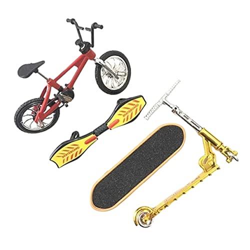 Morninganswer Dedo Bicicleta Dedo Patineta Juego De Juguete Bicicleta + Patineta + Tabla De Vitalidad + Scooter Rojo
